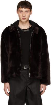 Christian Dada Brown Faux-Fur Jacket