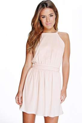 boohoo Petite Plait Detail Halter Neck Skater Dress
