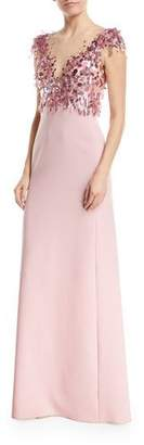 Jenny Packham Illusion-Neckline Short-Sleeve Paillette Top Crepe Evening Gown