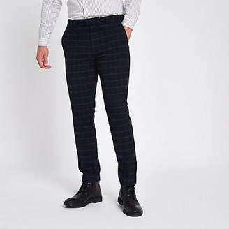 River Island Mens Navy window pane check skinny suit trousers