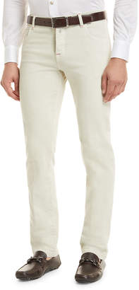 Kiton Denim Five-Pocket Jeans, Tan