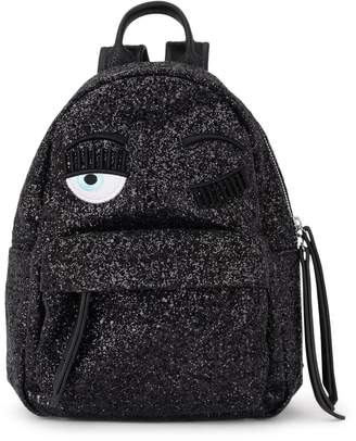 Chiara Ferragni Flirting Small Black Glitter And Black Faux Leather Backpack