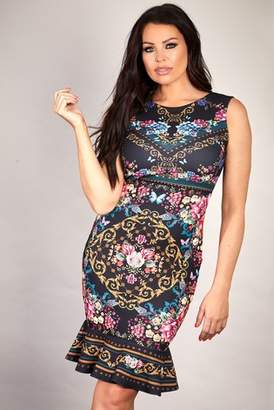Next Womens Sistaglam Loves Jessica Floral Chain Print Bodycon Dress