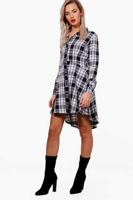 boohoo Woven Check Fit & Flare Shirt Dress