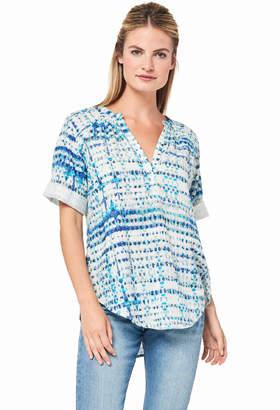 Lilla P Short Sleeve Tie-Dye Shirt Blue - L - Blue/White