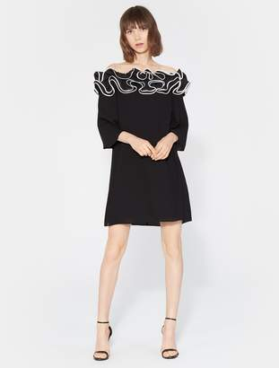 Halston Ruffle Off Shoulder Dress
