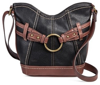 Bolo Women's Faux Leather Crossbody Handbag with Back/Interior Compartments and Zipper Closure - Black/Walnut $29.99 thestylecure.com
