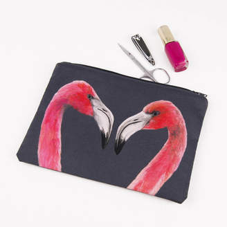 Equipment Katie & the Wolf Flamingos Printed Silk Zipped Bag