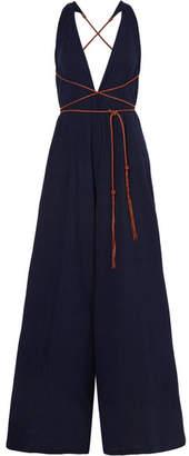 Caravana - Pakkun Open-back Leather-trimmed Cotton-gauze Jumpsuit - Navy