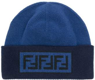 jacquard logo knit beanie - Blue Fendi jo8BJN