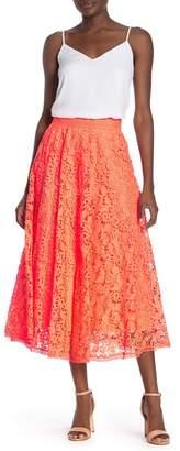 Alice + Olivia Earla Floral Lace A-Line Midi Skirt
