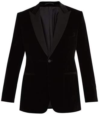 Kilgour - Single Breasted Velvet Blazer - Mens - Black