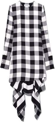 Monse Gingham Button Flare Dress in Black/White