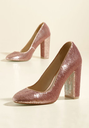 Betsey Johnson Footwear Sequin and Ye Shall Find Heel in Rose $108.99 thestylecure.com