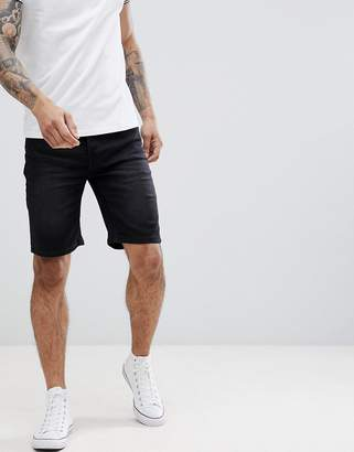 ONLY & SONS slim fit denim shorts in washed black