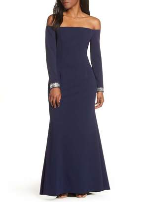 Vince Camuto Crystal Cuff Off the Shoulder Long Sleeve Crepe Dress (Regular, Petite & Plus Size)