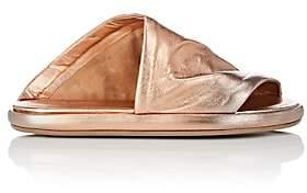 Marsèll WOMEN'S ASYMMETRIC METALLIC LEATHER SLIDE SANDALS - GOLD SIZE 9