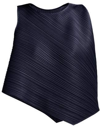Pleats Please Issey Miyake Asymmetric Pleated Top - Womens - Navy