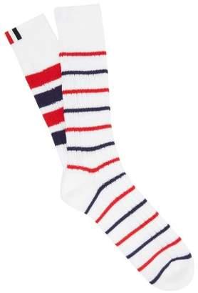 Thom Browne Striped Cotton Socks - Mens - White