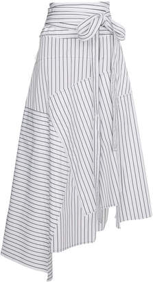 striped asymmetrical midi skirt