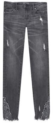 Tractr Floral Embroidered Distressed Jeans