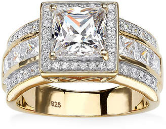 FINE JEWELRY Diamonart Womens 3 CT. T.W. White Cubic Zirconia 18K Gold Over Silver Engagement Ring
