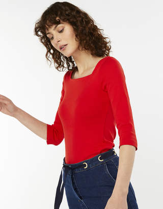 Monsoon Bryony Cotton Square Neck Basic Top