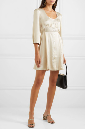 ALEXACHUNG Satin Mini Dress - Cream