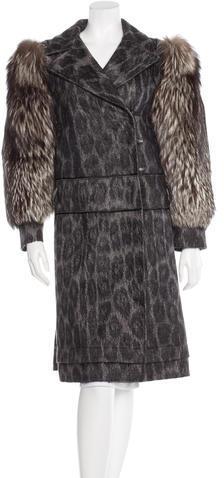 pradaPrada Fox-Trimmed Leopard Jacquard Coat