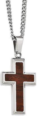 FINE JEWELRY Mens Stainless Steel Wood Inlay Cross Pendant