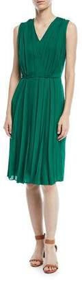 Escada V-Neck Sleeveless Pleated Silk Dress