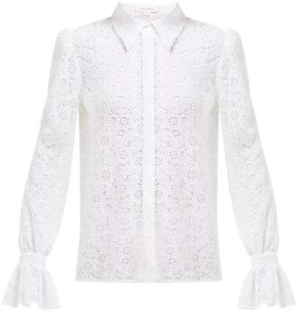 Carolina Herrera Floral Cotton Blend Crochet Blouse - Womens - White
