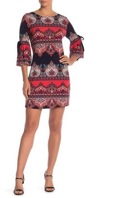 Chetta B Flounce Sleeve Print Shift Dress