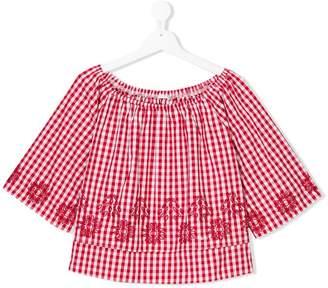 Liu Jo Kids TEEN embroidered gingham blouse