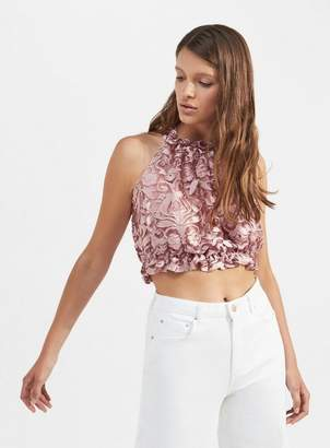 Miss Selfridge Pink lace ruffle halter crop top