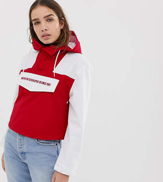 Napapijri Rainforest cropped pullover jacket in red
