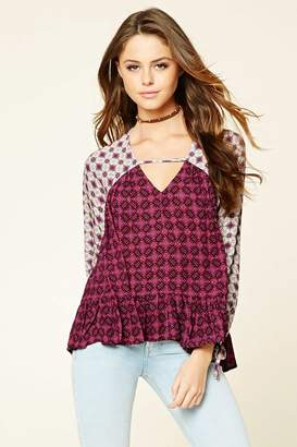 Forever 21 Floral Cutout-Neck Top