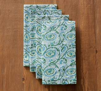 Pottery Barn Block Print Napkin, Set of 4 - Green Paisley