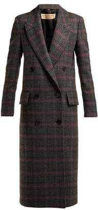Burberry Theydon Double Breasted Wool Coat - Womens - Grey Multi