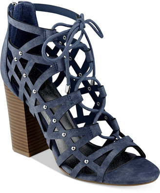 G by Guess Juto Lace-Up Block-Heel Sandals Women's Shoes $69 thestylecure.com
