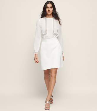 Reiss BRUNA LACE-DETAIL DRESS Off White