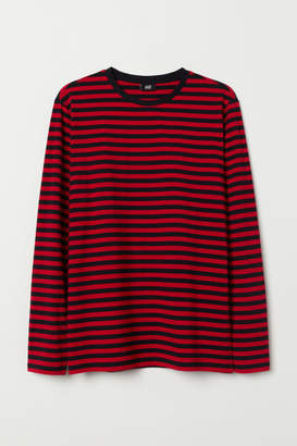 H&M Long-sleeved Cotton Shirt - Red