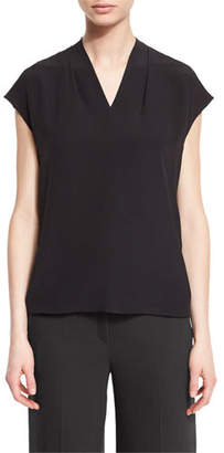 Escada V-Neck Cap-Sleeve Silk Shell