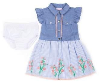Little Lass Short Sleeve Chambray & Seersucker Puff Print Dress (Baby Girls & Toddler Girls)