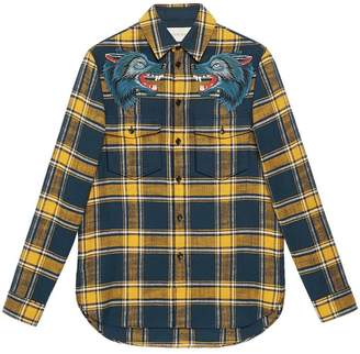 Gucci Plaid shirt with wolf embroidery
