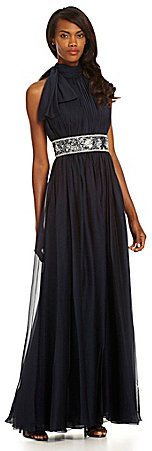 JS Collections Tie-Neck Beaded Dress