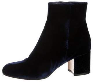Gianvito Rossi Margaux Velvet Round-Toe Ankle Boots