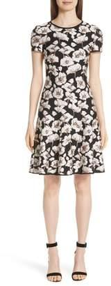 St. John Floral Jacquard Fit & Flare Dress