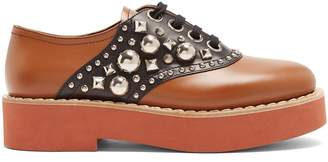Miu Miu Stud-embellished lace-up leather shoes