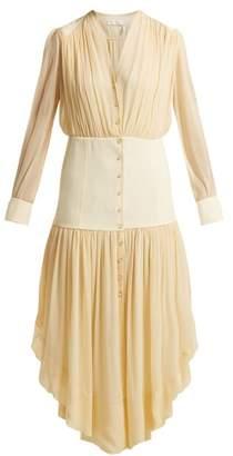 Chloé Asymmetric Hem Mousseline Dress - Womens - Light Yellow